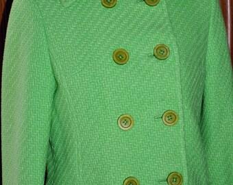 Vintage 1960's Jackie Kennedy Style Custom Made Double Breasted Suit  Size 2/4, Custom Made Suit, Jackie O Style Suit, Green Wool Suit