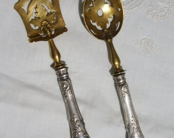 French Antique Hors d'oeuvres Aperitif Serving Utensils in Silverplate
