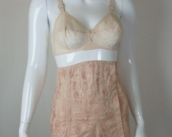 Antique Peach Corset - Tulip Print - Lace up Back - Button Garters - Pinup - 8 to 12