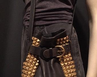 Studded Vintage Coach Leather Bucket Bag