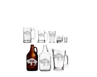 Buffalo 716  Hand-Etched Glassware - Mug - Glass - Beer - Growler