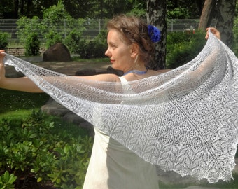 Hand Knit Pure White Triangular Lace Shawl.