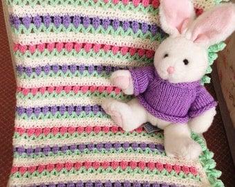 Crocheted Tulip Baby Blanket!  UK Seller!