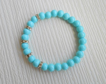 Turquoise stretch glass pearls bracelet, beaded jewelry, great for wedding, bridesmaid, Mother of the groom, Bridal, Birthday gift