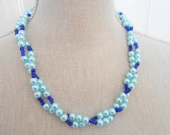 Blue pearl and blue beads, wedding jewelry, bridesmaid gift, cheap gifts, trending necklace, birthday gift, gift shop