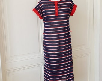 Sweet vintage polo shirt striped dress, T-shirt dress with collar and placket, made in Italy,