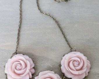 Lavender Rose Necklace - Trio, Resin Rose, Antiqued Bronze Metal, Gift for Her