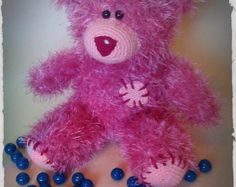 Pink Hand knitted Teddy Bear Valentine's Day Gift with Love Gift for Her MADE TO ORDER