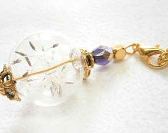 Real dandelion seed necklace, golden glow, gold an lilac, glass ball with real dandelion seeds