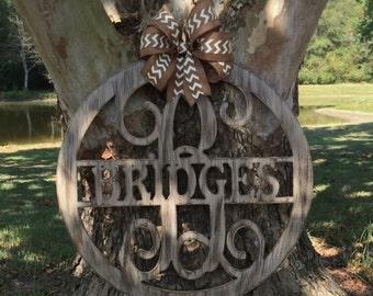 Distressed wooden name door hangers
