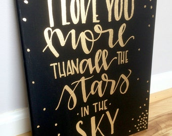Love You More Wall Art than all the stars | etsy