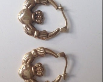 9 ct gold Claddagh Earrings, gold earrings, 9 ct gold earrings, Claddagh earrings