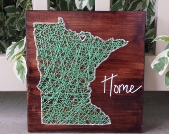 Minnesota string art home state sign