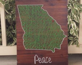 Georgia string art home state sign