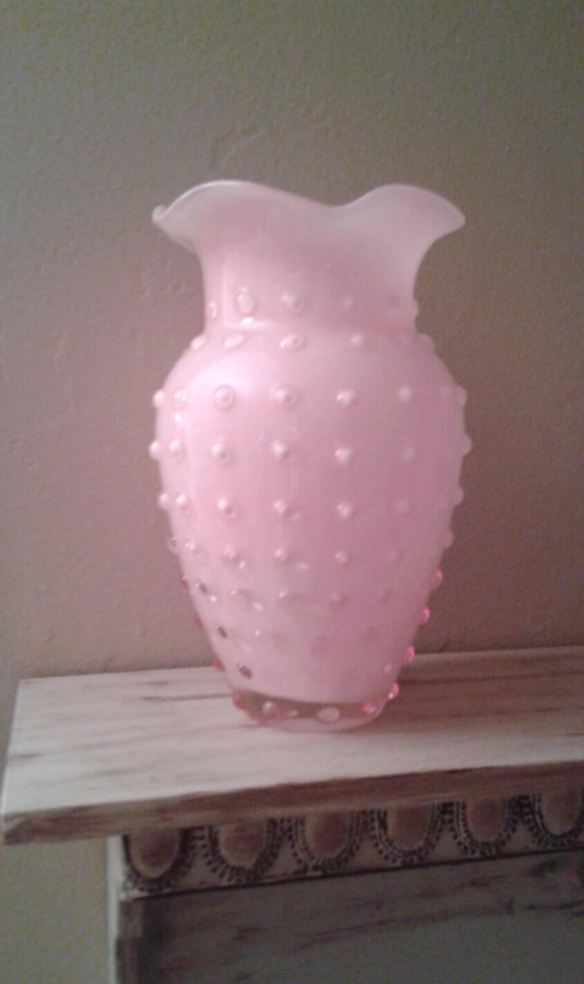 Vintage hobnail fused pink milk glass vase with ruffled top. Ruffled Milk Glass Vase Pink