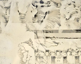 Photographic Collage * architectural * Italy * statues * cherub * horse * Rome