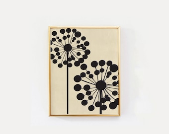 Black Dandelion, Mid Century Modern, Wall Art, Flower Wall Decor, Home Decor, Flower Wall Art, Floral Decor, Flower Wall Print.
