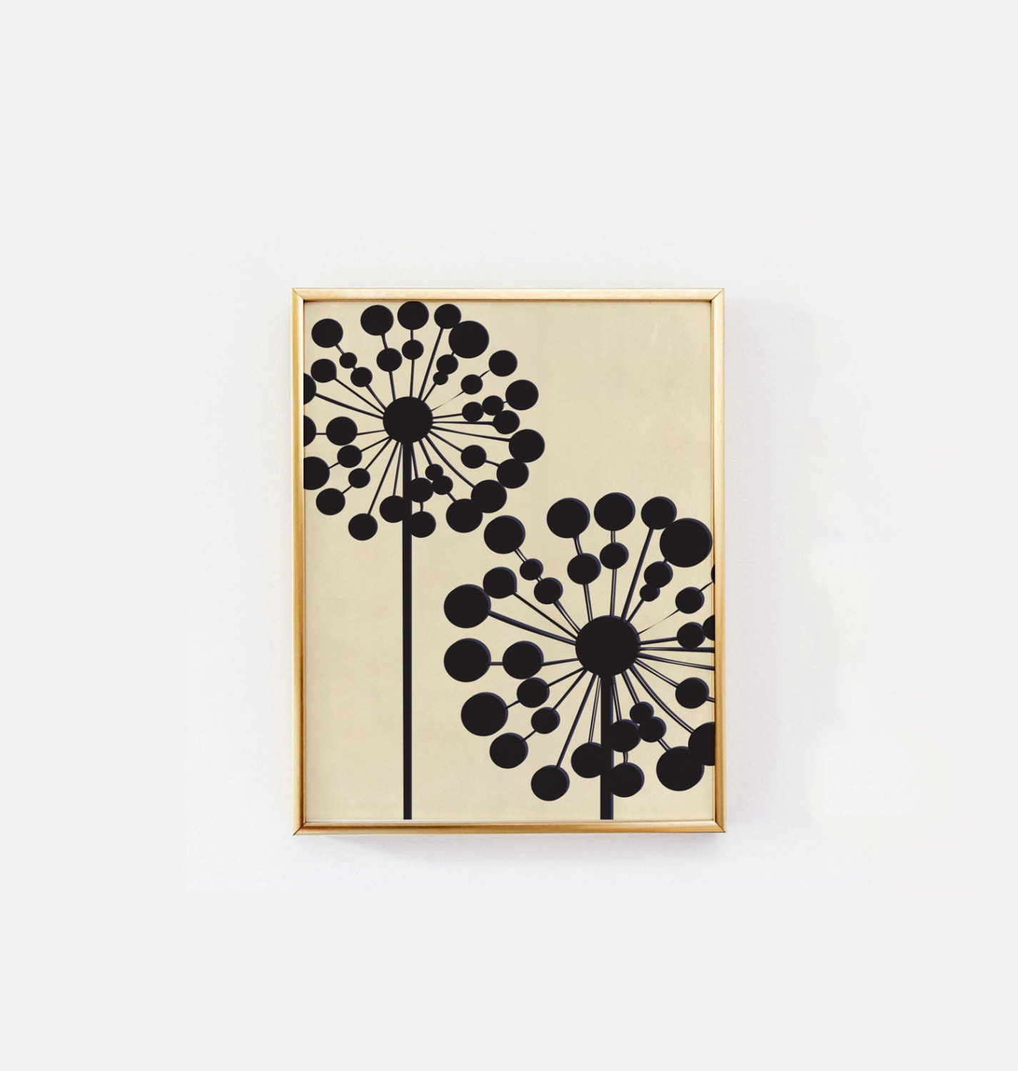 25 Modern Decor Ideas With Floral Fabric Prints And Textiles: Black Dandelion Mid Century Modern Wall Art Flower Wall