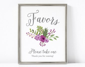 PRINTABLE Favors Wedding Sign, Floral 8x10 and 5x7 Printable Wedding Sign, Purple Wedding Decor, Favors Reception INSTANT DOWNLOAD