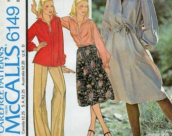 FREE US SHIP McCall's 6149 Retro 1970's Dress Tunic Pullover Size 10,12,14,16 Bust 30 32 34 36 Sewing Pattern Factory Folded Unused