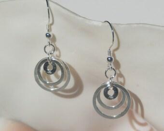 Sterling silver 3-ring earrings