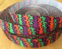 Purple Green and Orange Squiggly 7/8 Inch Grosgrain Ribbon by the Yard for Hairbows, Scrapbooking, Choose from 1-10 yards.