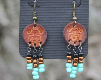 Earrings, Thunderbird Earrings, Western, Gypsy, Boho, Southwestern Jewelry, Handmade Leather Earrings