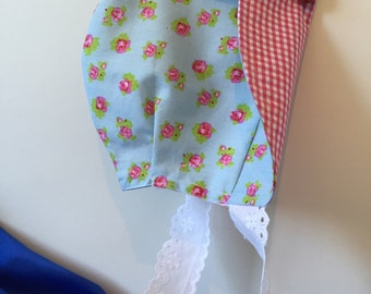 Baby girl sun bonnet roses and squares