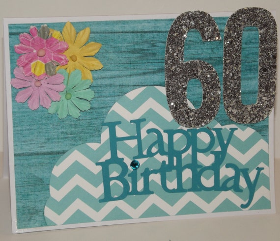 Happy Birthday Card Floral Glitter Teal Age By PaperWoodWords