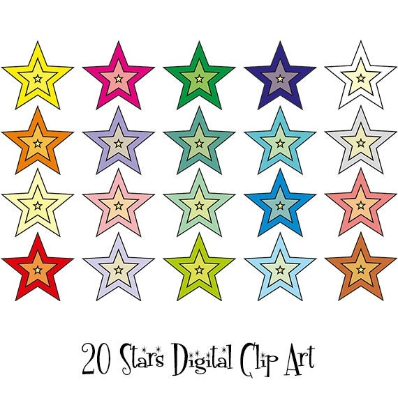 20 Stars Digital Clipart, Star icon,Star graphics,Planner clipart, Planner Stickers,Illustration INSTANT DOWNLOAD