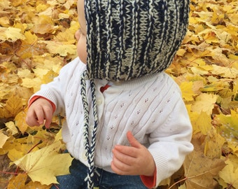 Baby or Toddler Marled Pixie Bonnet, Knit Merino Wool Pixie Hat, Pixie Hood, Elf Hat, Gnome Hat