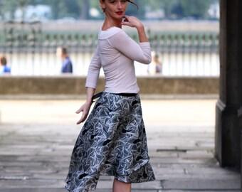 Ballroom - Tango  Satin Skirt - Black & White Swirls