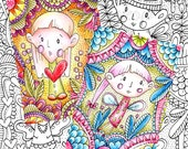 4 Digital stamps ATC part 1. Adult colouring Page. Colouring pages. Artist Trading Cards. Art journaling.