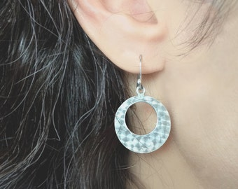 Sterling silver 'Allure' circular drop earrings with machined pattern