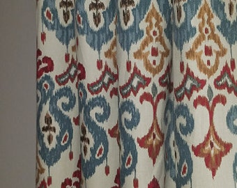 Attractive Pair Of Drapery Curtain Panels. Ikat Curtains. Custom Orders For Width  Length Available,