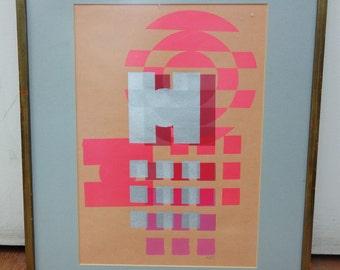 Pop Art Hotz Original Screen Print Framed Pink and Silver