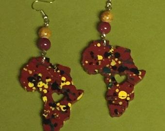 Red Splatter Africa Earrings