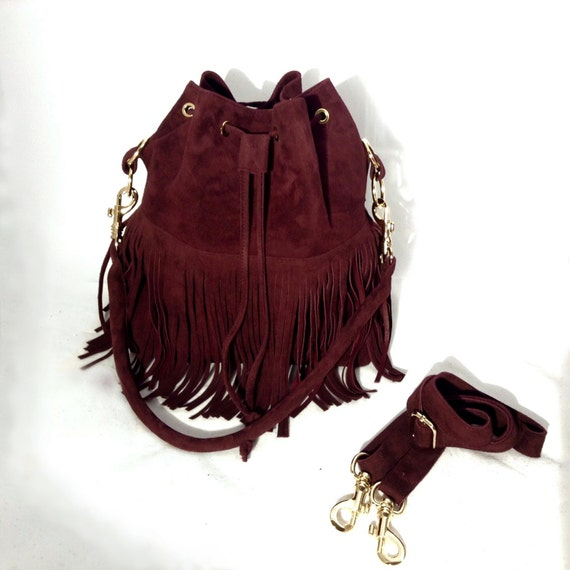 Oxblood Leather Pouch Bag with Fringes Red Medium Big Shoulder Crossbody OLA Olaccessories FREE SHIPPING