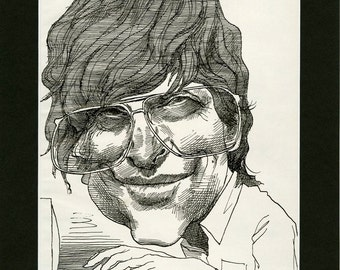 Celebrity Magazine Print ~ Bill Gates Caricature Art ~ David Levine Illustration ~ Optional 14x11 Matting, Laminating ~ Man Cave Decor
