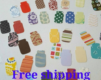 50 mason jars cutouts. mason jars die cuts. 50 mason jars. Different colors and paper thickness. Free shipping.
