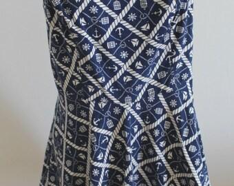 1950s cotton dress, 1950s sailordress, 1950s novelty printed dress