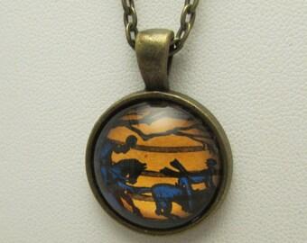 The Legend of Sleepy Hollow Stamp Necklace, Headless Horseman Glass Pendant, Sleepy Hollow Glass Necklace, Sleepy Hollow Stamp Jewelry