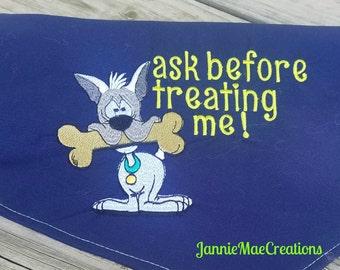 Embroidered Ask Before Treating Dog Bandana