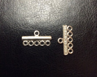 Sterling Silver Five-Strand End Bar, 10.9x20.5mm