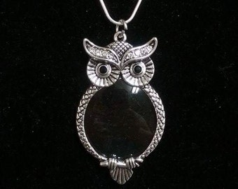 Antique Silver Owl Magnifier Pendant On a Silver Plated Snake Chain. Owl Pendant. Owl Necklace. Magnifier Pendant. Owl Jewelry. Owl Charm.