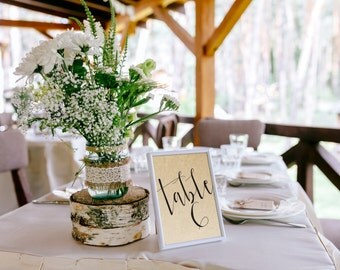 Table numbers printable, 10 pack, Printable table Numbers, Wedding table numbers, Wedding reception stationery, Rustic wedding table number