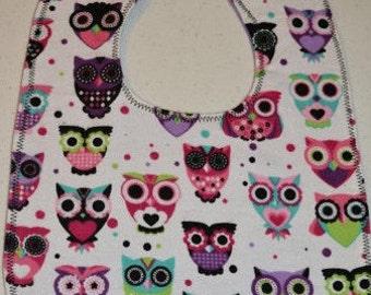 Owls - bold - flannel bib