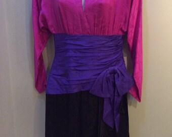 Vintage 1980's AJ Bari Silk Long Sleeve Dress Prom Formal Sz. 4