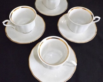 Vintage (c. 1878-1901) Walbrzych Poland Empire White Gold Empire Cups and Saucers - Set of 4