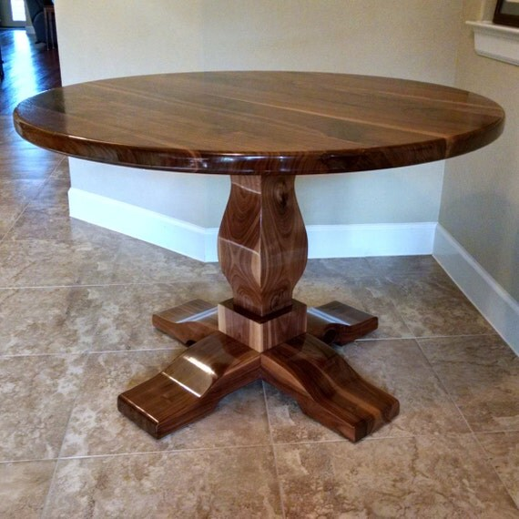 Round pedestal table solid black walnut wood by for Solid wood round kitchen table